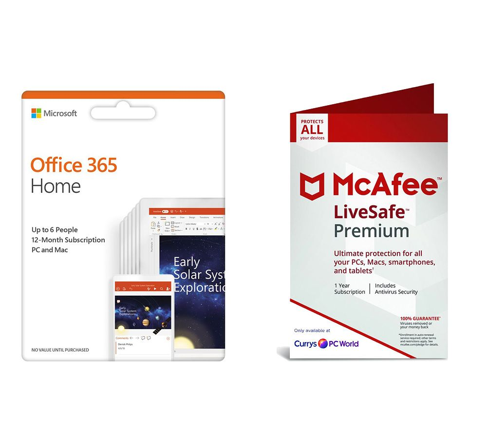 microsoft office 365 home 1 year 5 users mcafee. Black Bedroom Furniture Sets. Home Design Ideas