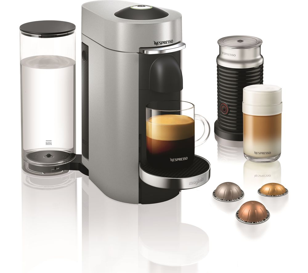 NESPRESSO by Magimix Vertuo Plus Coffee Machine with Aeroccino - Silver