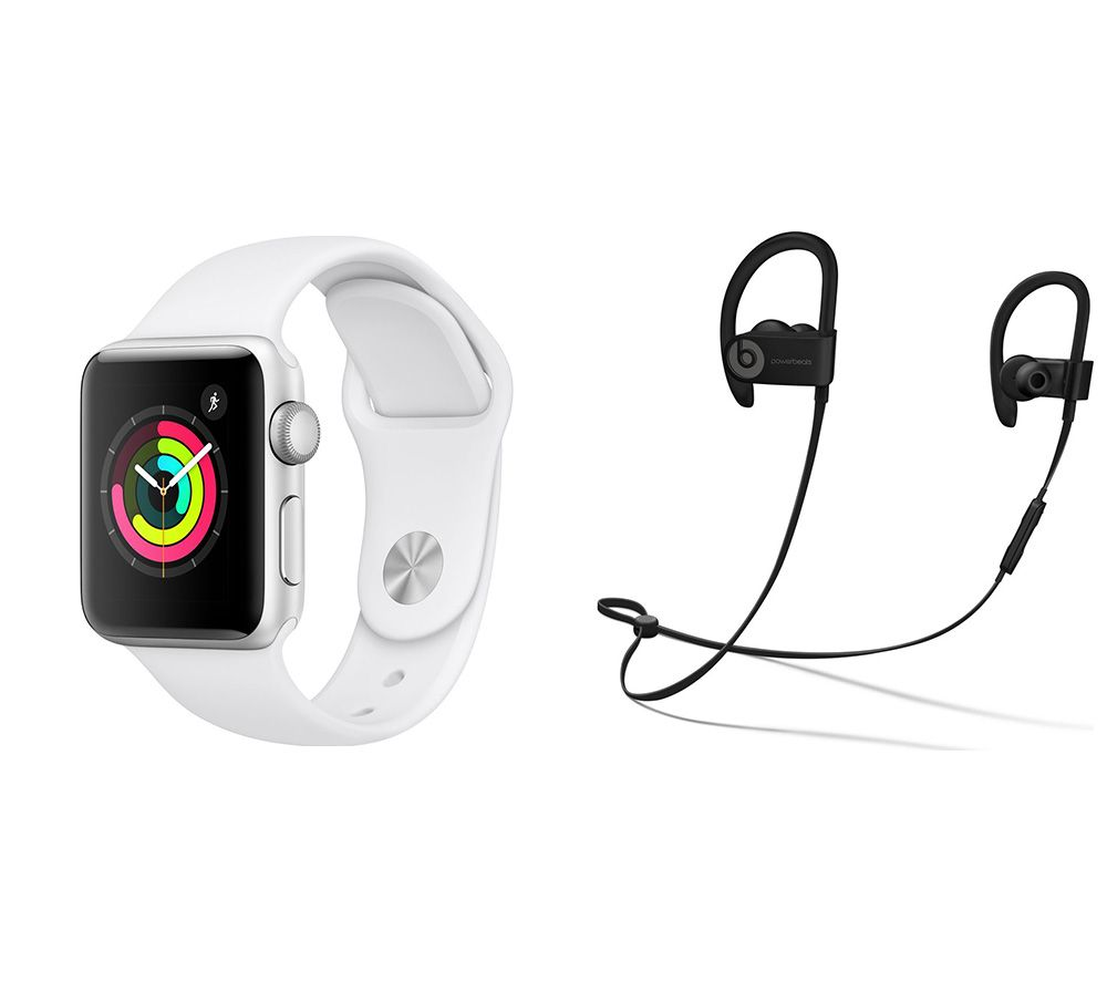Buy Brand New APPLE Watch Series 3 & Powerbeats3 Wireless Bluetooth Headphones Bundle - Silver & White Sports Band, 38 mm, Silver