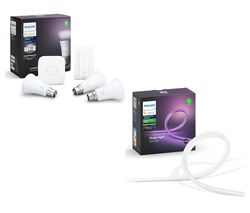 Hue A60 White & Colour Ambience B22 Starter Kit & Outdoor LightStrip Bundle