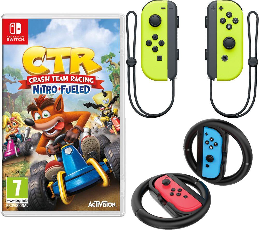 NINTENDO Switch Joy-Con Yellow Wireless Controllers, Joy-Con Racing Wheels & Crash Team Racing Nitro