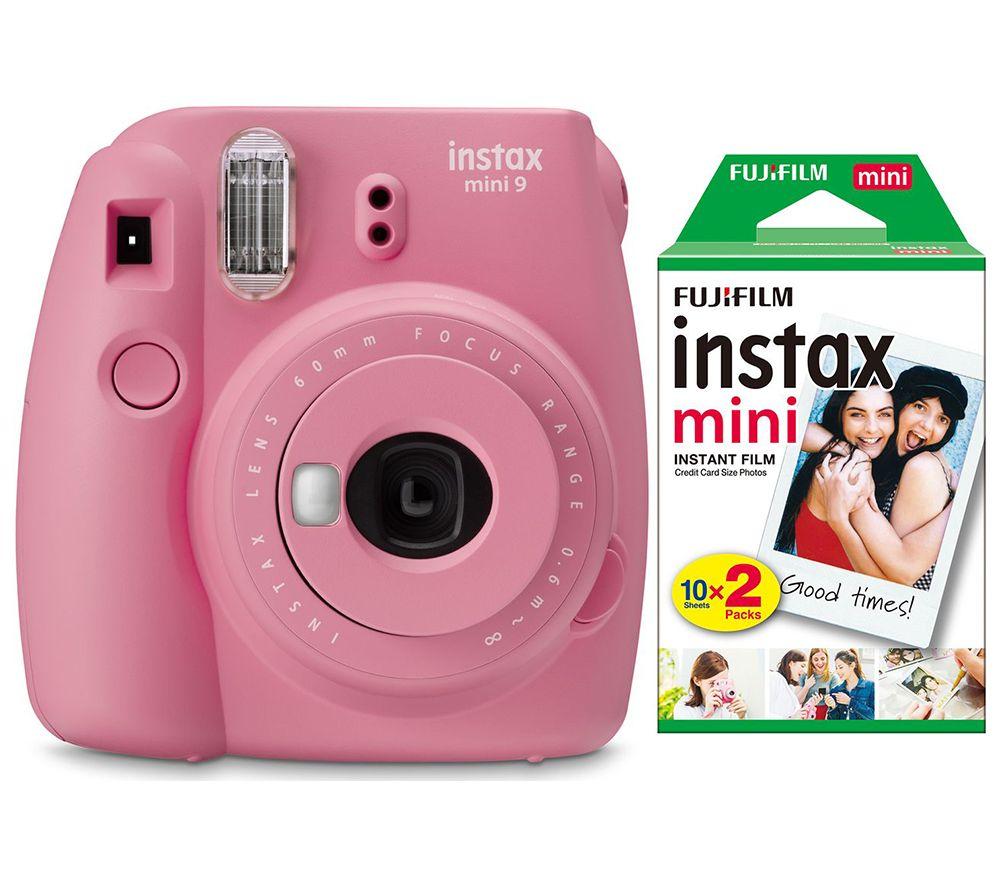 INSTAX mini 9 Instant Camera with Pink Lemonade Film & Mini Film 20 Shot Pack Bundle - Blush Rose, Pink