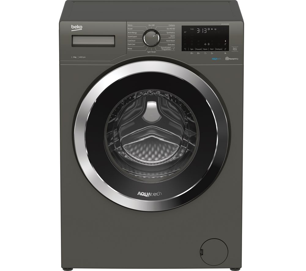 BEKO Aquatech WEX94064E0G Bluetooth 9 kg 1400 Spin Washing Machine - Graphite, Graphite
