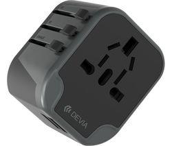 Travel USB Universal Plug Charger - Black