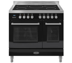 BRITANNIA Q Line 90 Electric Induction Range Cooker - Gloss Black &  Stainless Steel