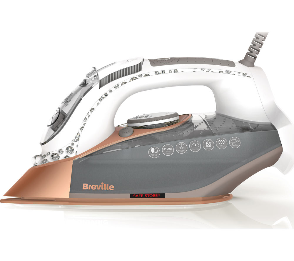 Image of BREVILLE DiamondXpress VIN401 Steam Iron - White & Rose Gold, White