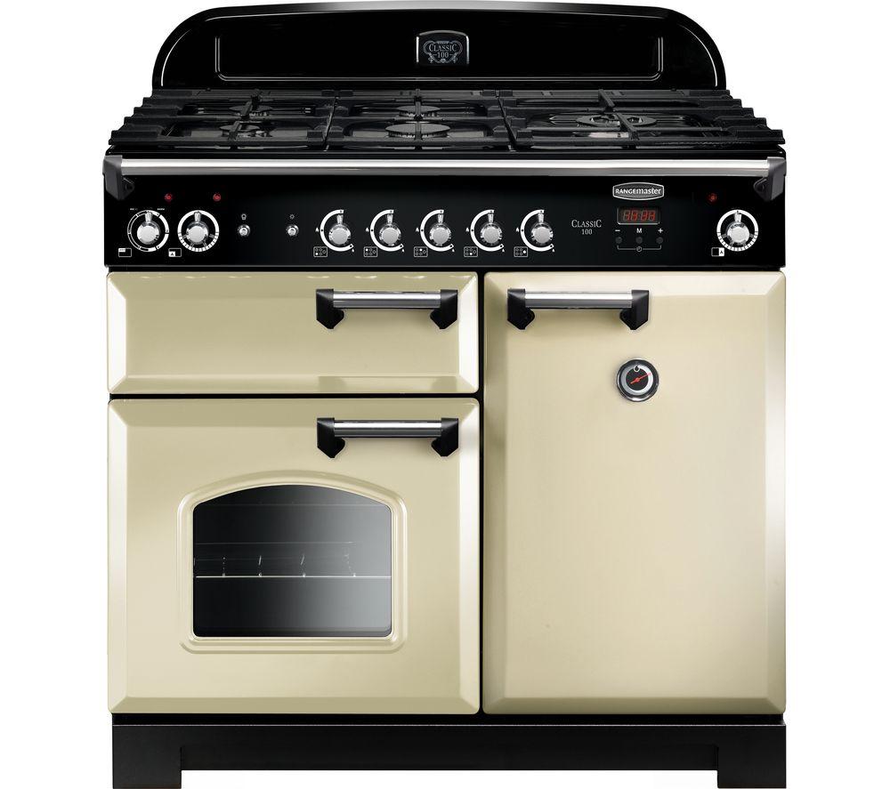 RANGEMASTER CLA100DFFCR/C Dual Fuel Range Cooker - Cream & Chrome