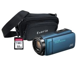 JVC GZ-R495BEK Camcorder & Accessories Bundle - Blue