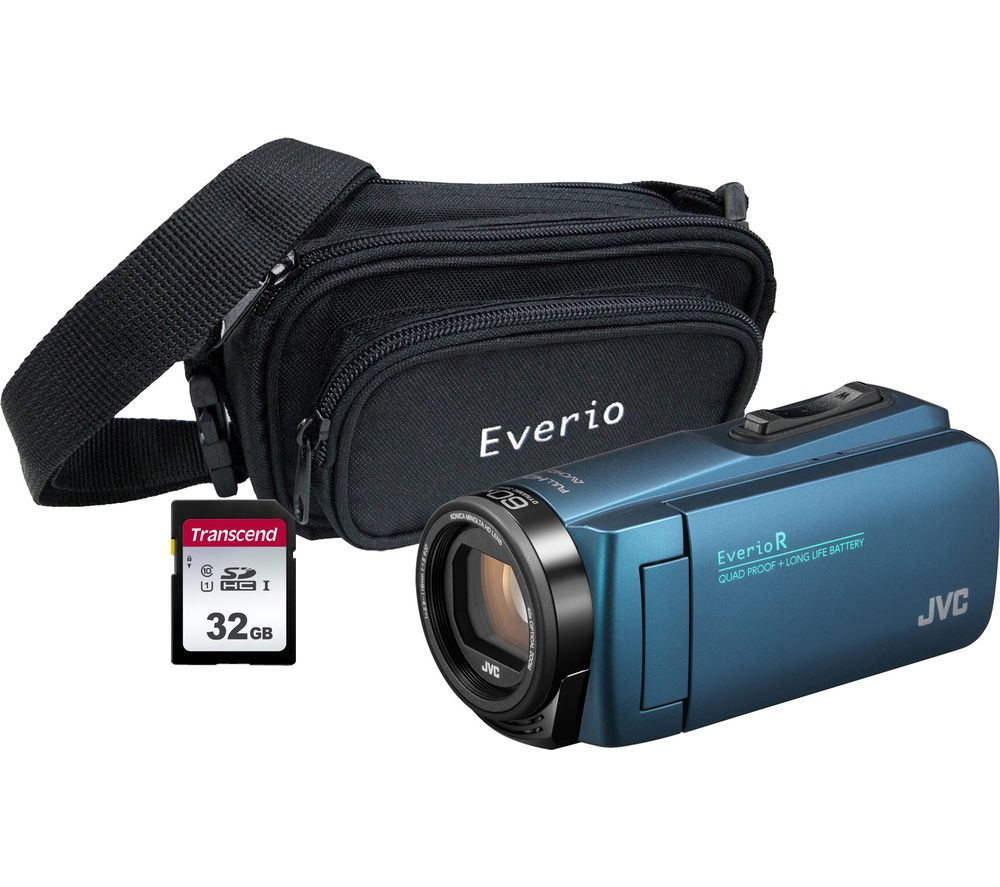JVC GZ-R495BEK Camcorder & Accessories Bundle – Blue, Blue