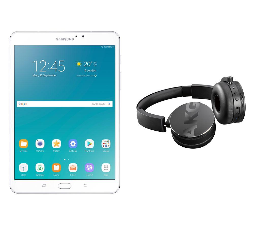 SAMSUNG Galaxy Tab S2 8″ Tablet & C50BT Wireless Bluetooth Headphones Bundle – 32 GB, White, White