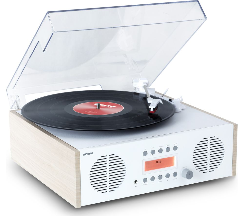ION Digital LP Belt Drive Music Centre - White & Wood