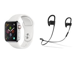 APPLE Watch Series 4 Cellular & Powerbeats3 Wireless Bluetooth Headphones Bundle - Silver & White Sports Band, 40 mm
