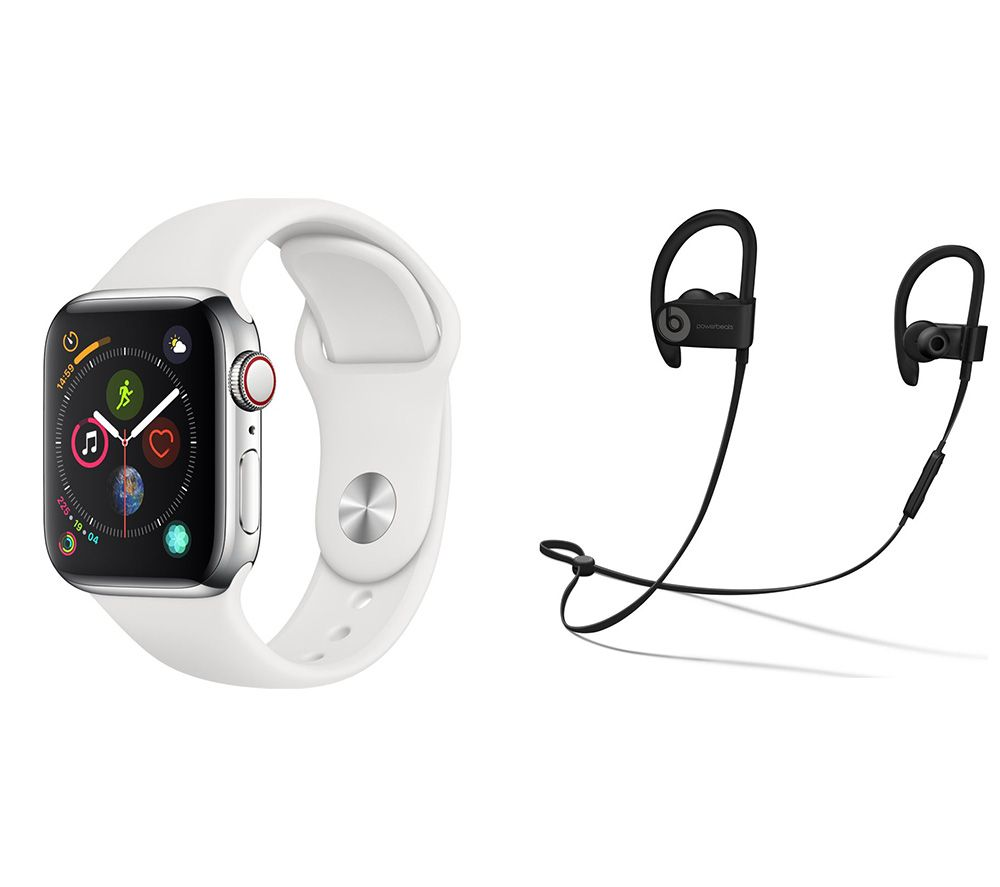 APPLE Watch Series 4 Cellular & Powerbeats3 Wireless Bluetooth Headphones Bundle - Silver & White Sports Band, 40 mm, Silver cheapest retail price