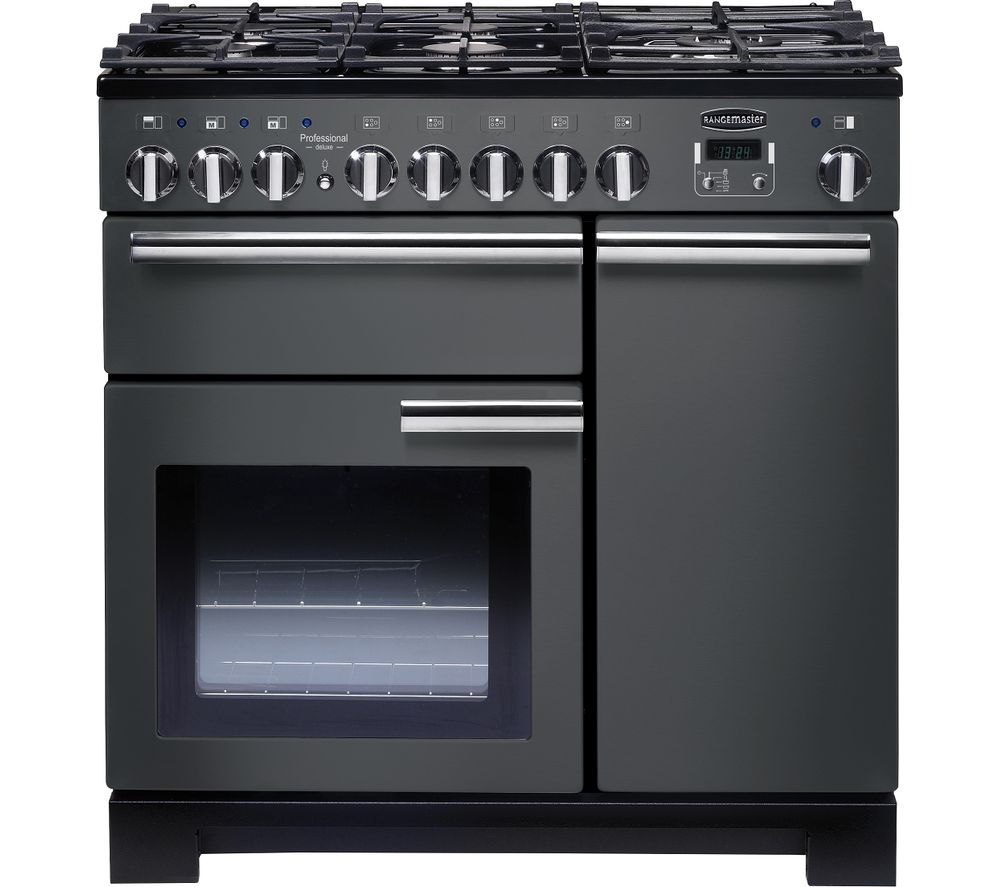 Image of Professional Deluxe 90 cm Dual Fuel Range Cooker - Slate & Chrome, Red