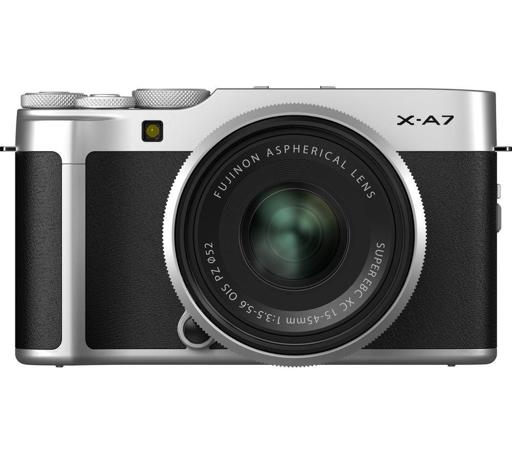 FUJIFILM X-A7 Mirrorless Camera with FUJINON XC 15-45 mm f/3.5-5.6 OIS PZ Lens - Silver