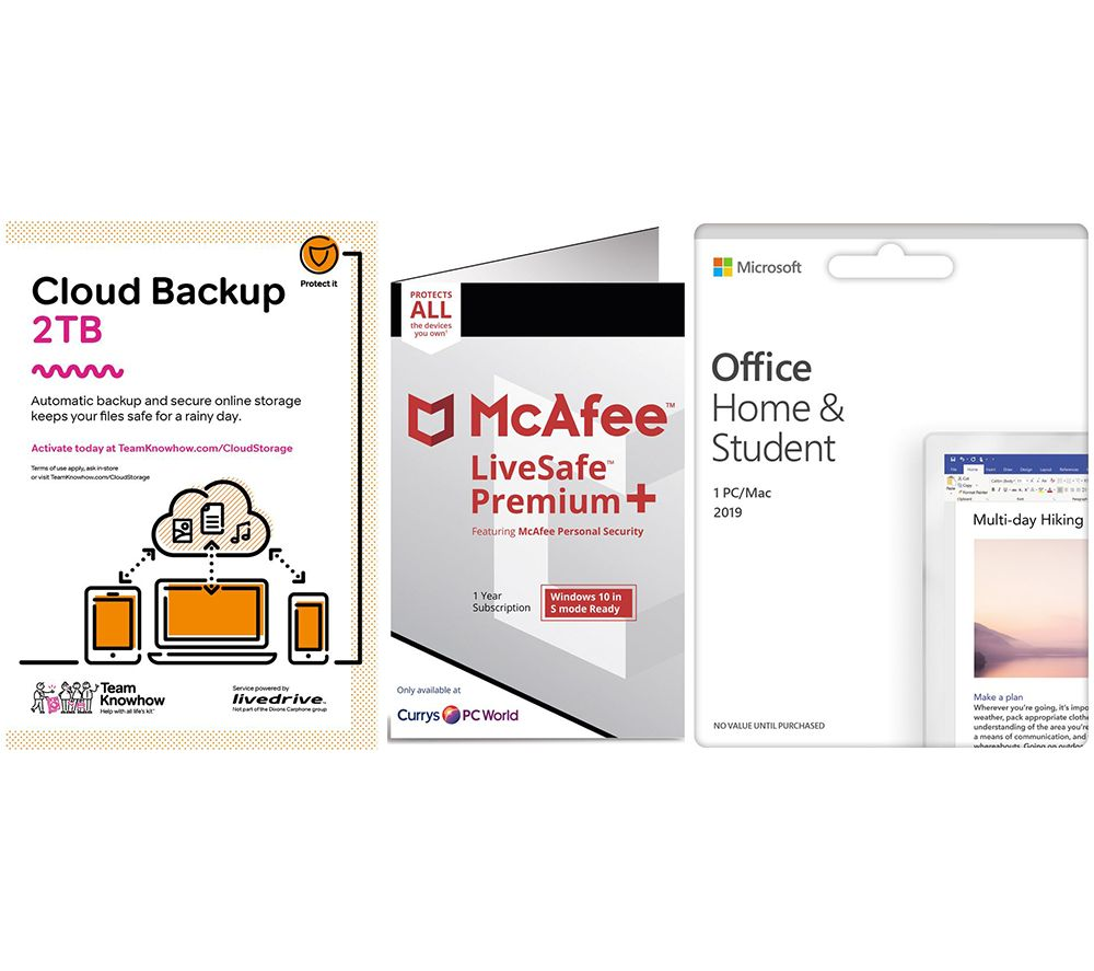 Image of MCAFEE LiveSafe Unlimited Devices, Microsoft Office Home & Student 2019 & Knowhow 2 TB Cloud Backup Bundle - 1 year