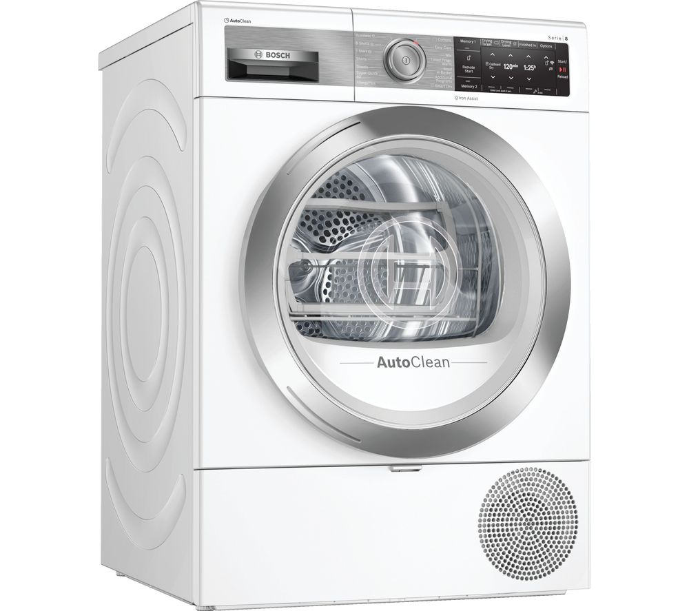 Image of BOSCH Serie 8 WTX88EH9GB Smart 9 kg Heat Pump Tumble Dryer - White, White