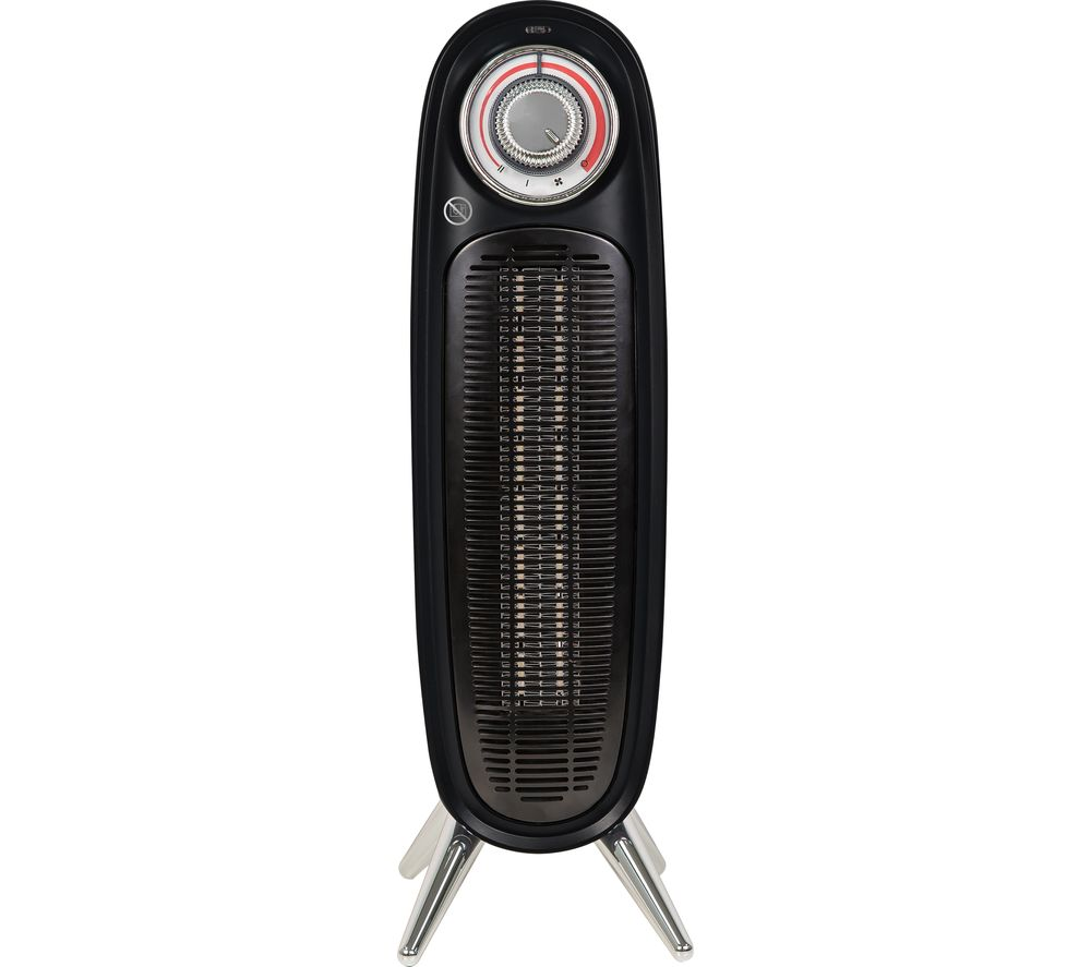 Russell Hobbs RHRETFH1002B 2000W Black Retro Tower Fan Heater with Adjustable Thermostat, PTC Heating, 20m2 Room Size, 2 Heat Settings and 2 Year Guarantee