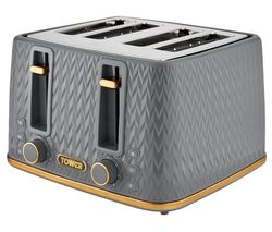 Empire Collection T20061GRY 4-slice Toaster - Grey