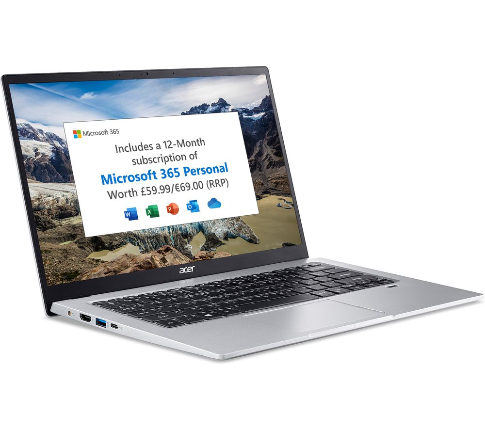 """Image of ACER Swift 1 14"""" Laptop - Intel®Pentium™, 128 GB SSD, Silver, Silver"""