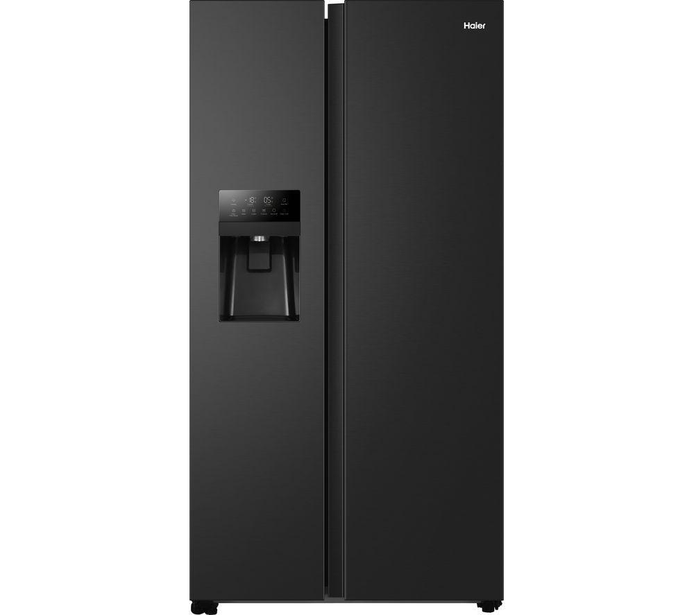 HAIER HSOBPIF9183 American-Style Fridge Freezer - Black, Black