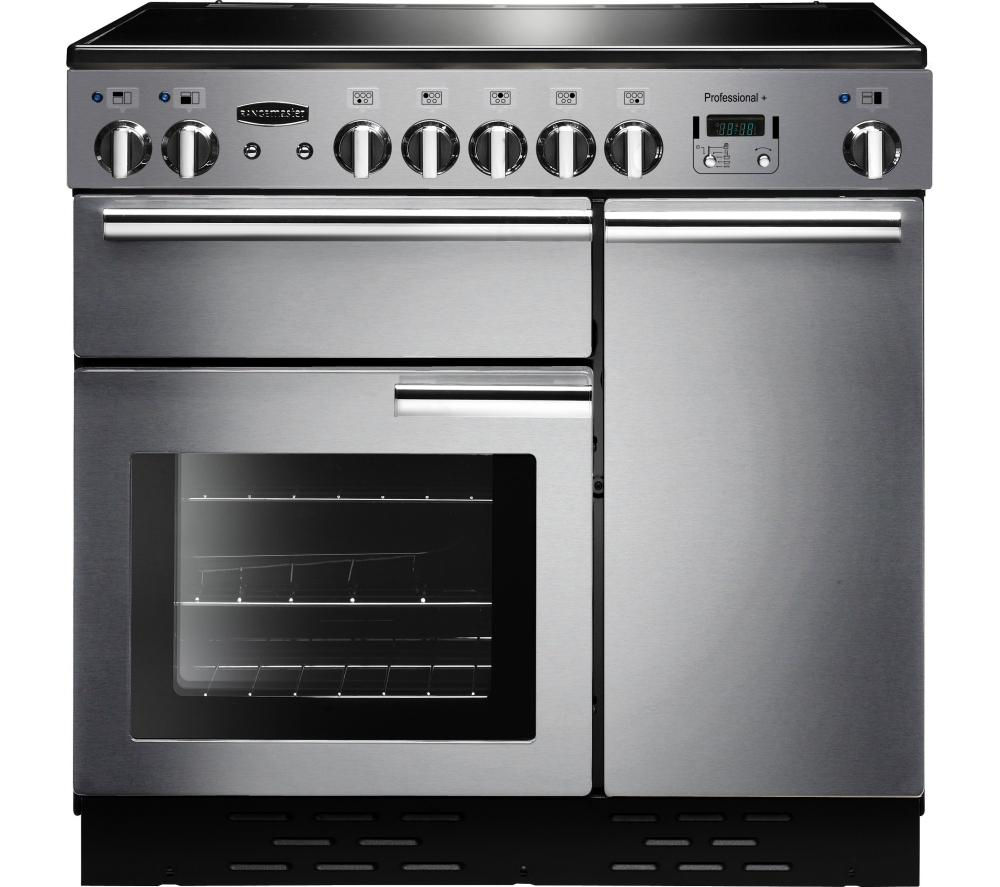 RANGEMASTER Professional+ 90 Electric Ceramic Range Cooker - Stainless Steel & Chrome
