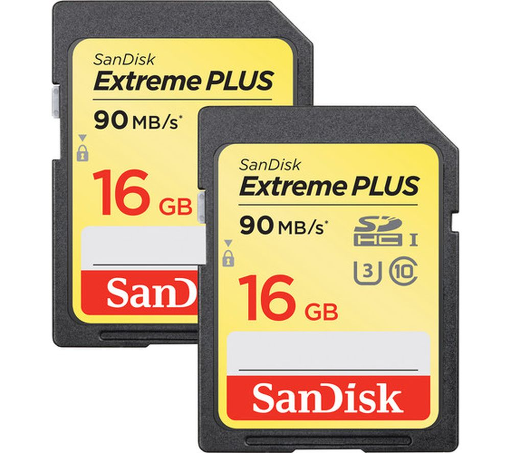 SANDISK Extreme Plus Class 10 SDHC Memory Card - 16 GB, Twin Pack