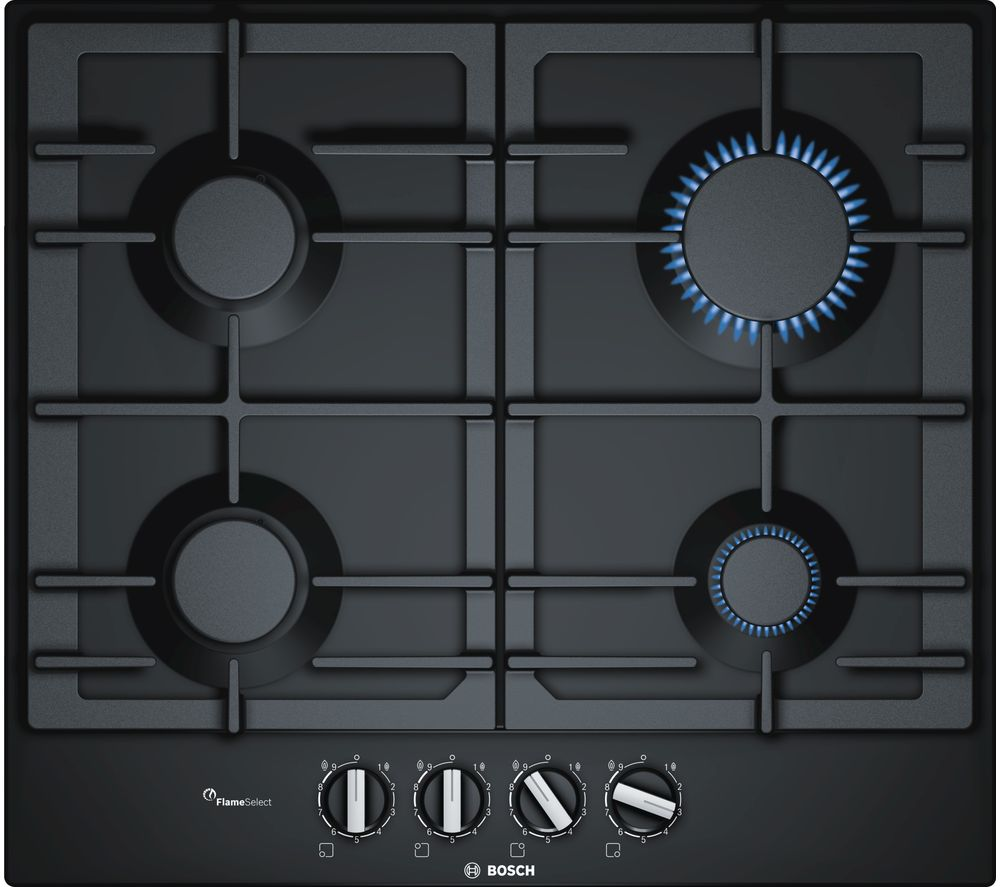 buy bosch serie 6 pcp6a6b90 gas hob black free delivery currys. Black Bedroom Furniture Sets. Home Design Ideas