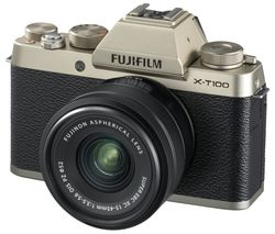 FUJIFILM X-T100 Mirrorless Camera with FUJINON XC 15-45 mm f/3.5-5.6 OIS PZ Lens - Champagne Gold