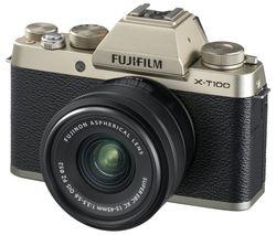 FUJIFILM X-T100 Mirrorless Camera with FUJINON XC 15-45 mm f/3.5-5.6 OIS PZ Lens - Champagne Gold