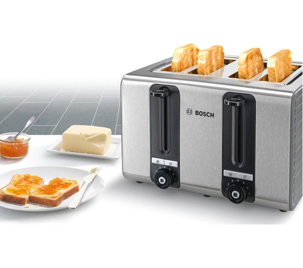 Bosch Silicone Tat7s45gb 4 Slice Toaster Black And Grey