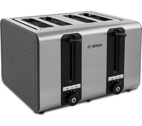buy bosch silicone tat7s45gb 4 slice toaster black and grey free delivery currys. Black Bedroom Furniture Sets. Home Design Ideas