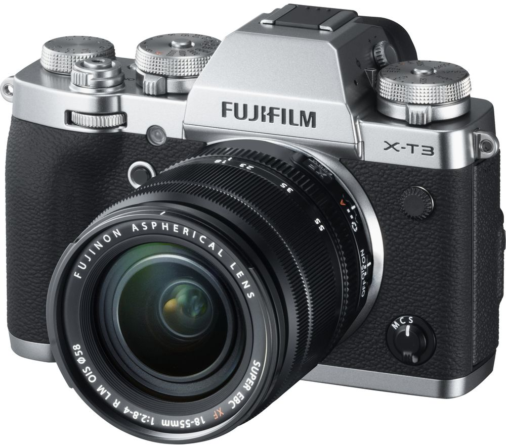 FUJIFILM X-T3 Mirrorless Camera with FUJINON XF 18-55 mm f/2.8-4 R LM OIS Lens - Silver