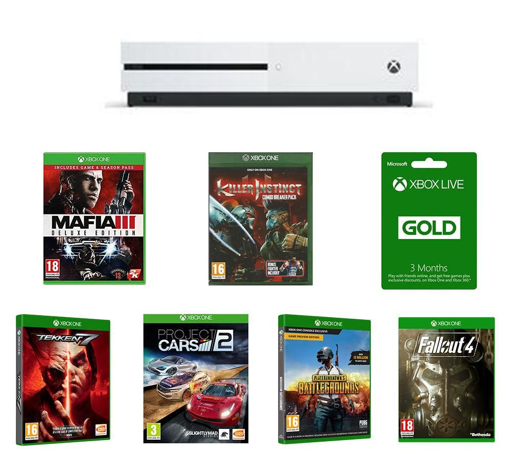 Image of MICROSOFT Xbox One S, Tekken 7, Project Cars 2, Killer Instinct Combo Breaker Pack, Mafia III Deluxe Edition, Fallout 4, PlayerUnknown's Battlegrounds & Xbox LIVE Gold Bundle - 1 TB, Gold