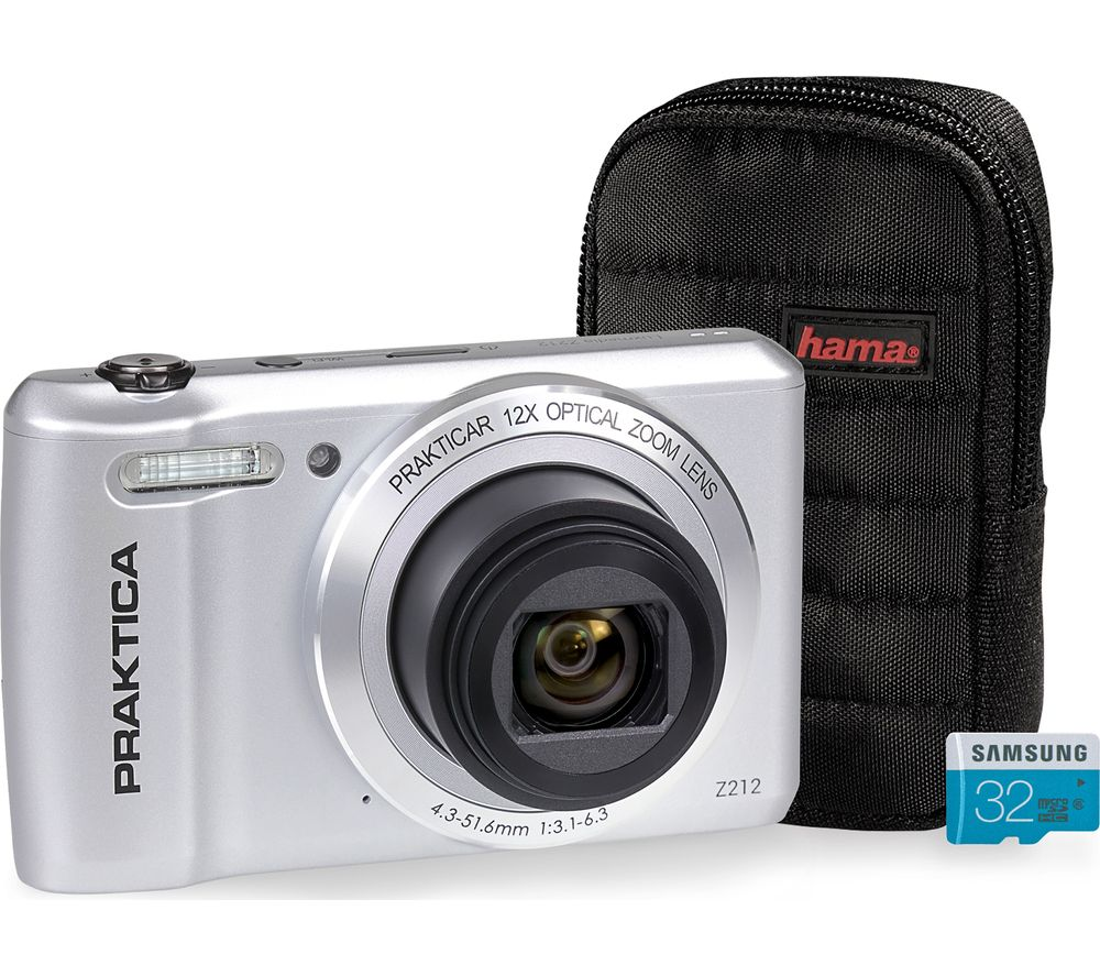 Click to view product details and reviews for Praktica Luxmedia Z212 S Compact Camera Case 32 Gb Microsd Memory Card Bundle Silver Silver.