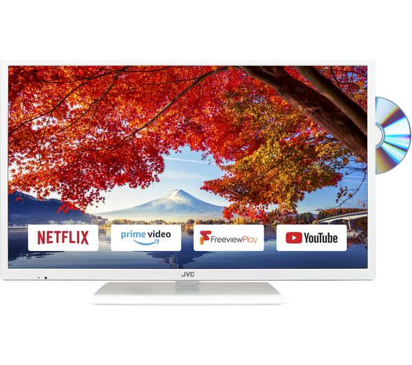 """JVC LT-32C696 32"""" Smart LED TV with Built-in DVD Player - White"""