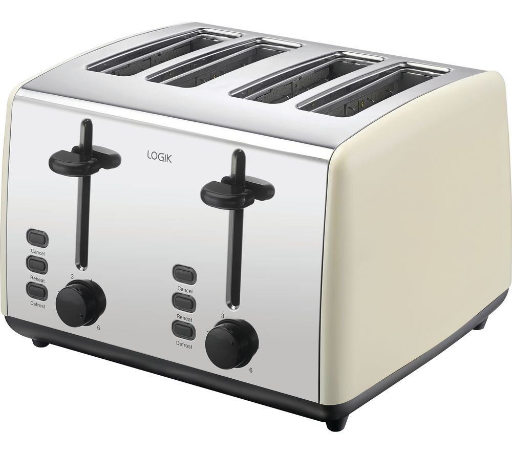 LOGIK L04TC19 4-Slice Toaster - Cream & Silver