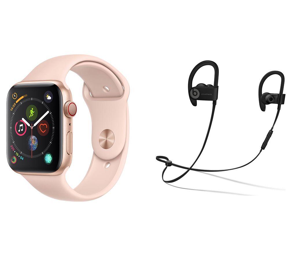 APPLE Watch Series 4 Cellular & Beats Powerbeats3 Wireless Bluetooth Headphones Bundle - Gold & Pink Sports Band, 44 mm, Gold cheapest retail price