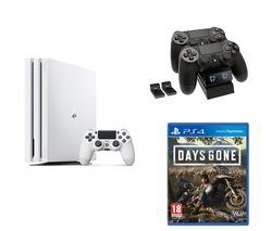 SONY PlayStation 4 Pro, Days Gone & Twin Docking Station Bundle - 1 TB, White