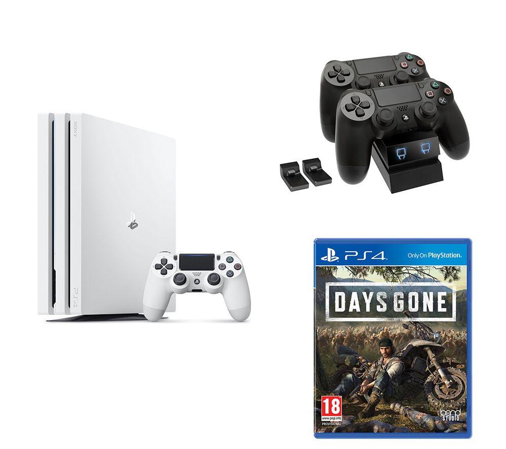 SONY  PlayStation 4 Pro, Days Gone & Twin Docking Station Bundle - 1 TB, White, White