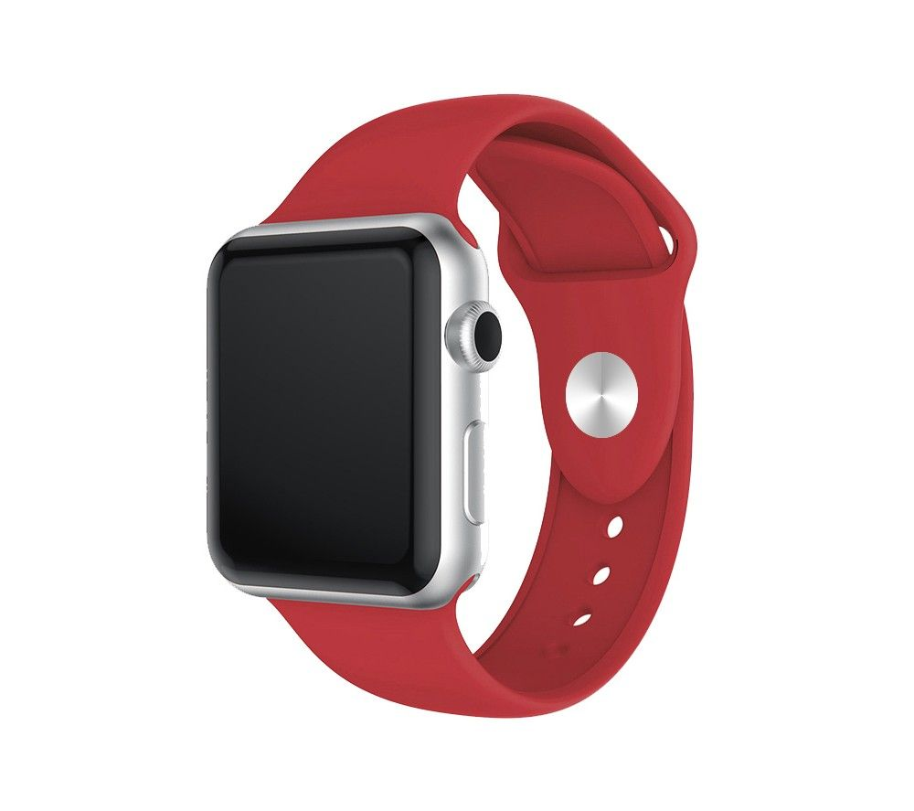 XQISIT Apple Watch 42 / 44 mm Silicone Strap - Red, Small, Red