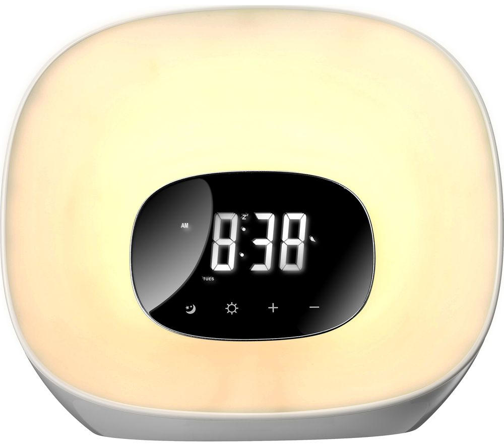 Image of GROOV-E Curve Wake-Up Light with FM Radio & Clock - White, White