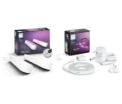 Twin Pack Hue Play Light Bar & 2 m Hue White & Colour Ambiance Smart LED Lightstrip Plus Bundle - White