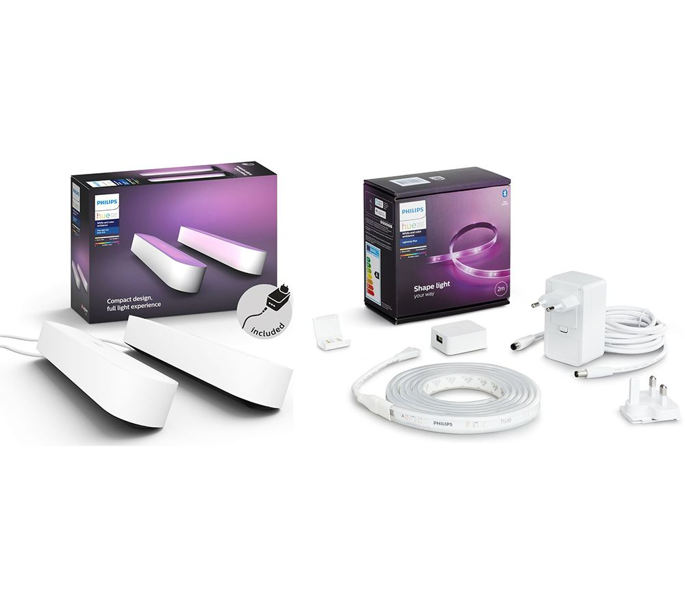 PHILIPS HUE Twin Pack Hue Play Light Bar & 2 m Hue White & Colour Ambiance Smart LED Lightstrip Plus Bundle - White