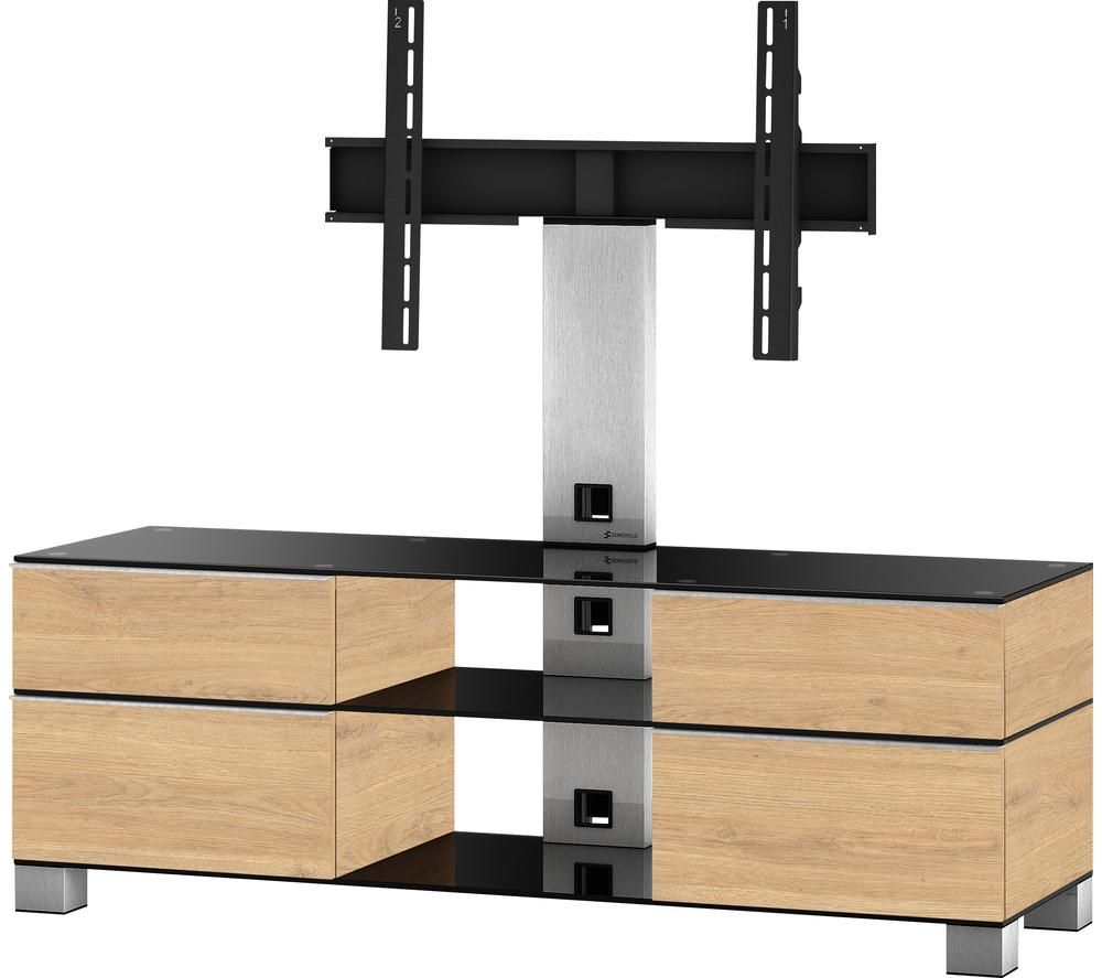 CONNECTED ESSENTIALS Mood MD 8240 1400 mm TV Stand with Bracket – Black & Oak