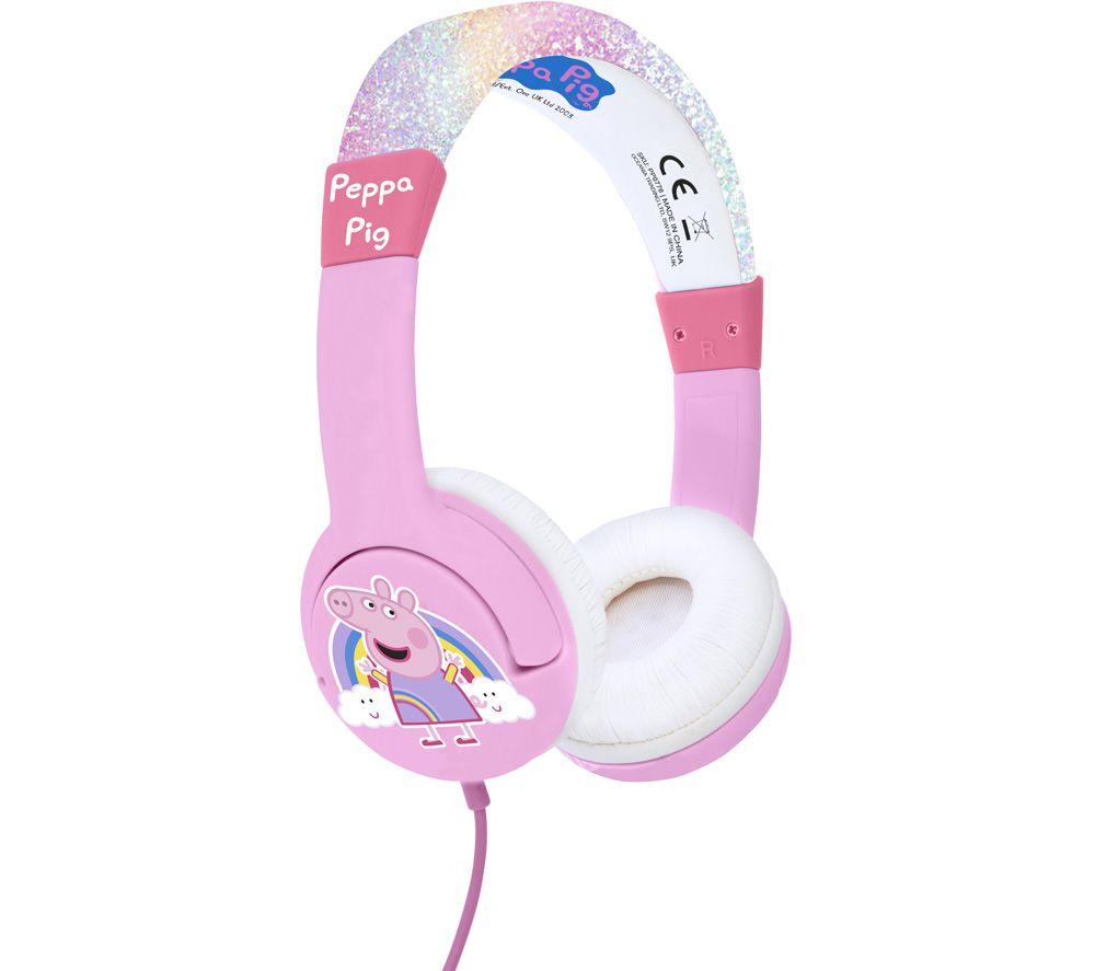OTL PP0776 Peppa Pig Kids Headphones - Pink & Rainbow Glitter