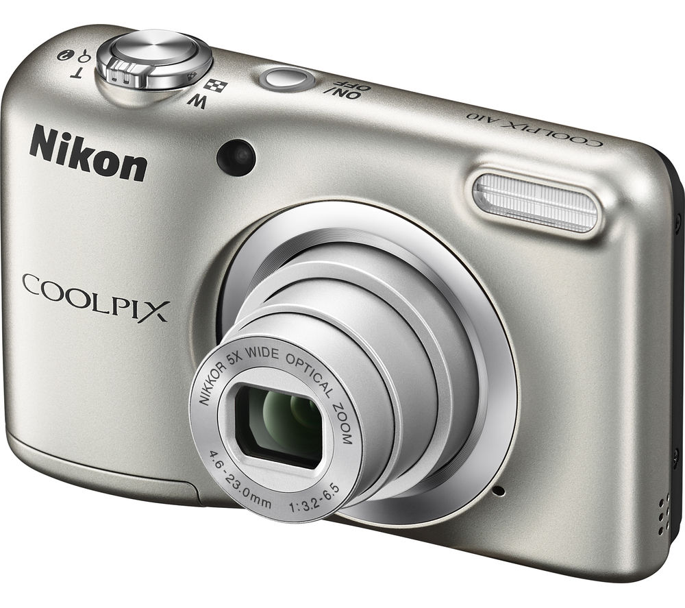 NIKON COOLPIX A10 Compact Camera - Silver + Camera Case - Black + Extreme Plus Class 10 SD Memory Card Twin Pack - 16 GB