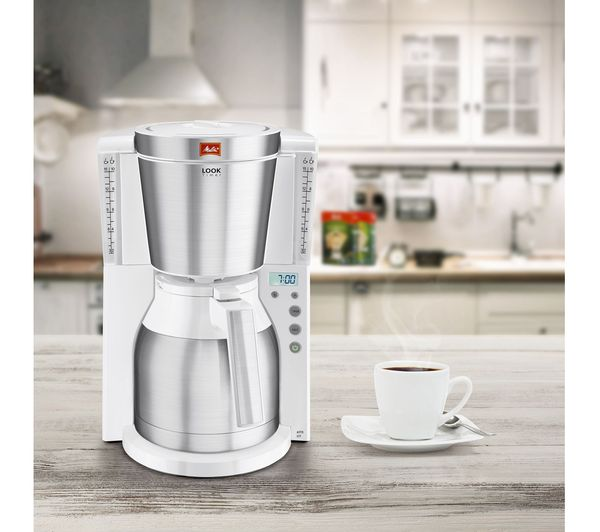 Melitta Look Iv Therm Timer Filter Coffee Machine White Stainless Steel