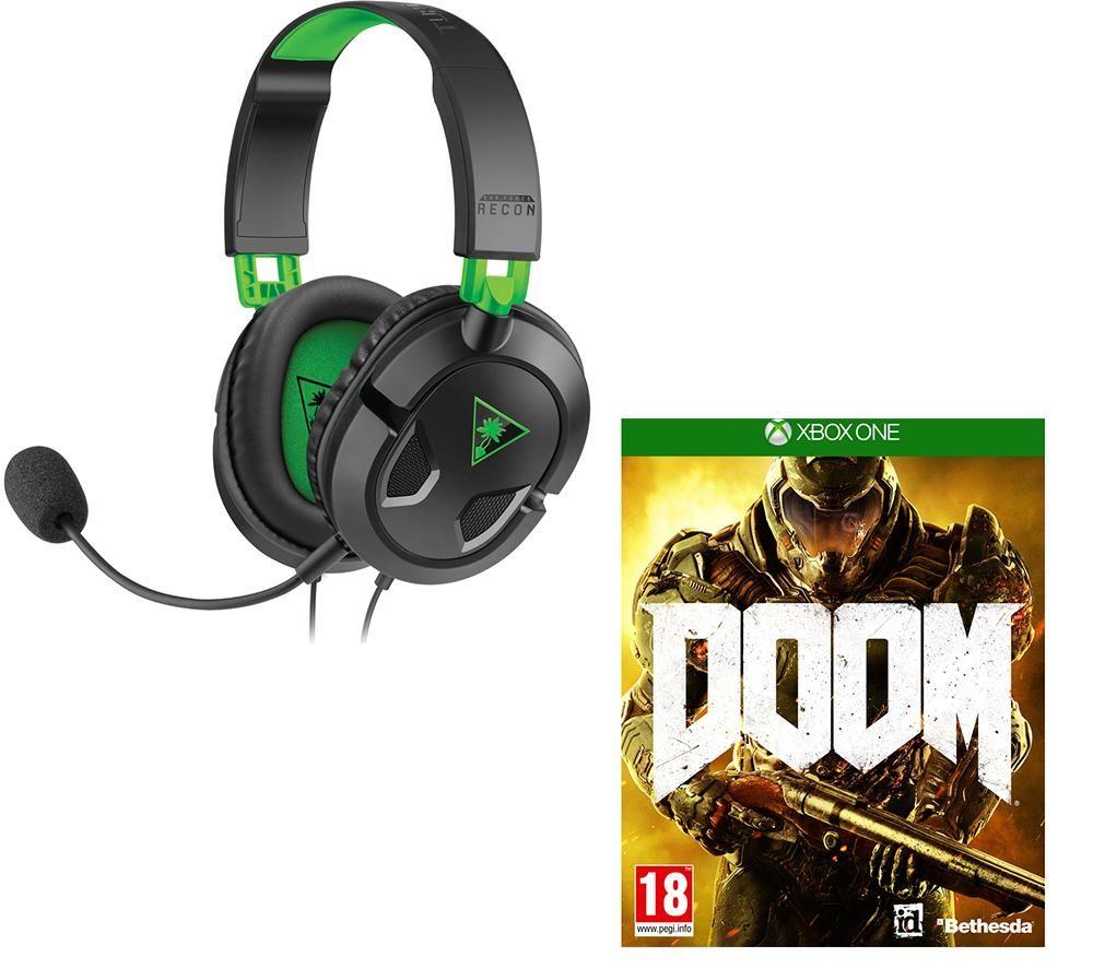 TURTLE BEACH Ear Force Recon 50X 2.0 Gaming Headset & Doom Bundle - Black & Green