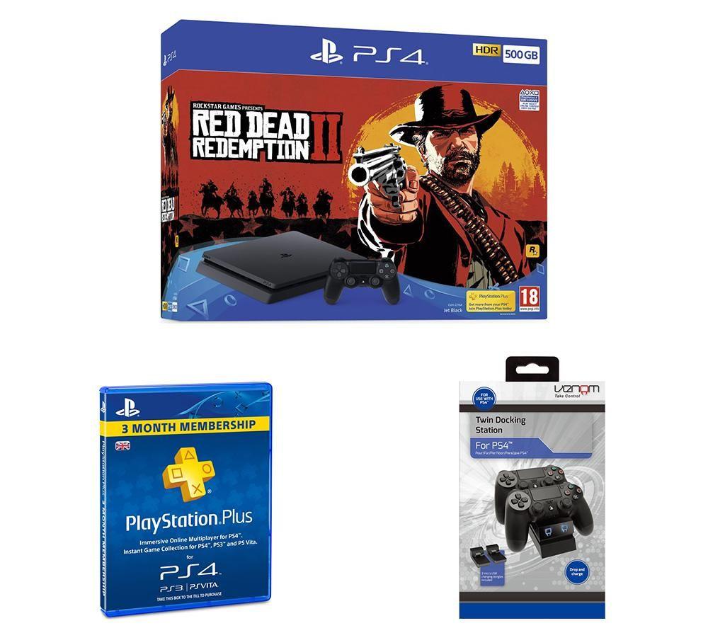 PlayStation 4 500 GB, Red Dead Redemption 2, Docking Station & PlayStation Plus Bundle, Red